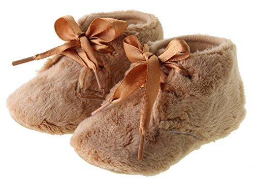 Dantiya Anti-Rutsch-weichen Schuhe für 0-18 Monate Baby, Winter-weich Korallen Samt prewalker Schuhe (12cm (6-12 Monat), Pink) Braun