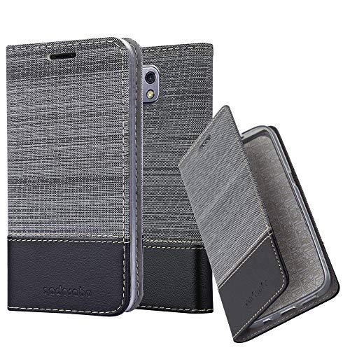 Cadorabo Hülle für LG X CAM - Hülle in GRAU SCHWARZ – Handyhülle mit Standfunktion und Kartenfach im Stoff Design - Case Cover Schutzhülle Etui Tasche Book