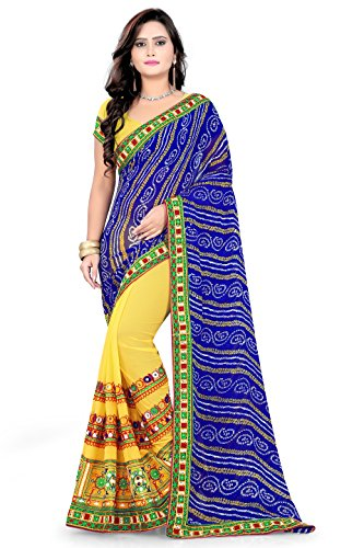 RIVA ENTERPRISE Women's Georgette Embroidered Saree with Blouse Piece (RIVA210__Yellow and Blue_Free...