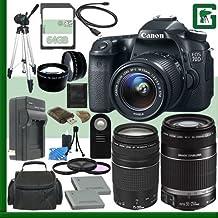 Canon EOS 70d Kit de cámara réflex digital con lente de 18–55mm IS STM y Canon 55–250mm lente y Canon EF 75–300mm III lente + 64GB verde de la cámara paquete 1