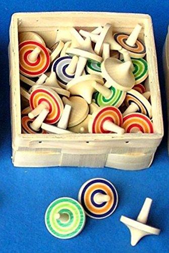 10 Stück Beck Holz Kreisel mit Ringen bunt Holzkreisel von Gartenwelt Riegelsberger 50012