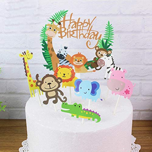 Happy Birthday Tiere Waldparty Girlande Kuchendekoration Cake Toppers Geburtstagskuchen Deko