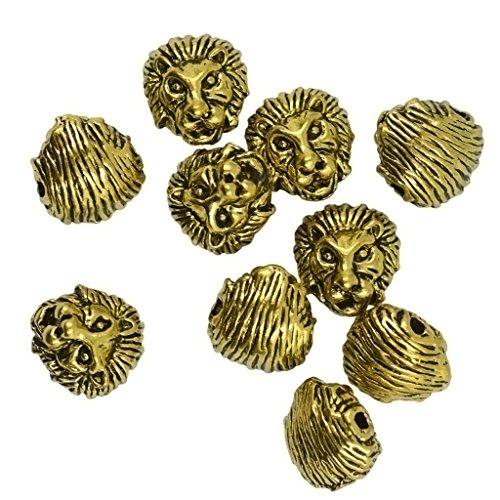 10 Packungen Metall Löwenkopf Armband Halsketten Stecker Perlen - Gold Metall-perlen