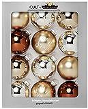HEITMANN DECO Krebs & Sohn 12er Set Glas Christbaumkugeln - Weihnachtsbaum Deko zum Aufhängen - Weihnachtskugeln 8 cm - Braun Silber