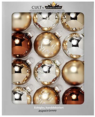 HEITMANN DECO - Set di 12 Palline in Vetro per Albero di Natale, 8 cm, Argento, Oro, Diametro 8 cm