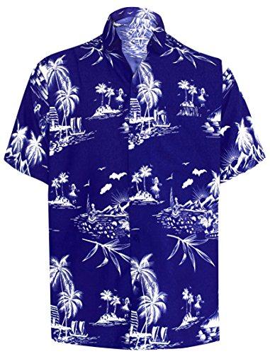 *la leela* palm floreale casuale floreale buttotn giù manica corta hawaiano camicia nera degli uomini s