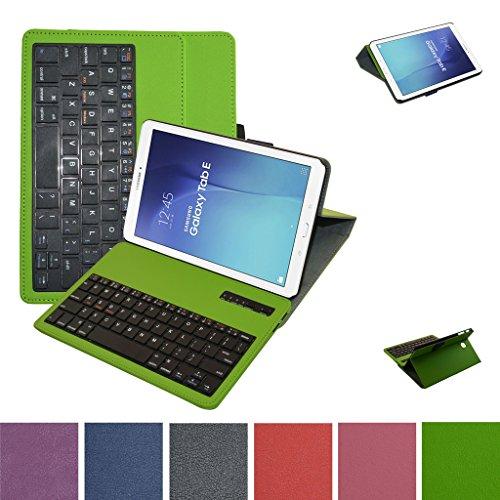 "Samsung Galaxy Tab E 9.6 Bluetooth Tastiera Custodia,Mama Mouth Staccabile Bluetooth Tastiera (layout inglese) custodia in PU di cuoio pelle caso Case per 9.6"" Samsung Galaxy Tab E 9.6 T560 T561 Android Tablet,Verde"