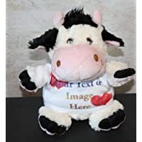 Personalised Cuddly Cow Plush Toy - Custom Cow With Your Photo Or Text