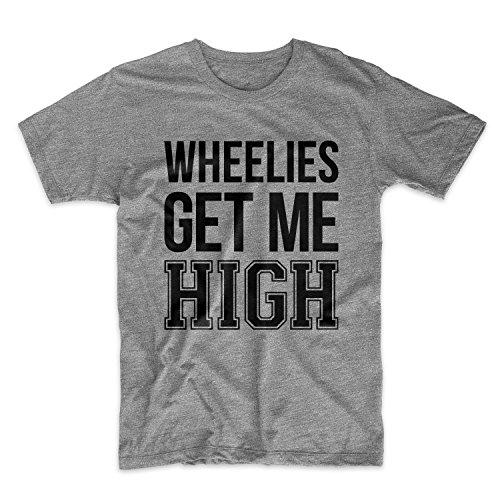 Wheelies Get Me High Bike Biker Motorcycle Herren T-Shirt Grau