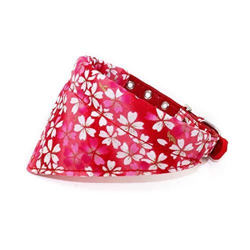 Mochow-Pet Abnehmbares Tuch Halstuch Bandana Set Hund Halsband Hundehalsband XS S M L 20-46 cm Verstellbar Für Klein Mittel Hunde Damen Japanisch Blumenmuster Stoffdruck Rot (S, Rot)