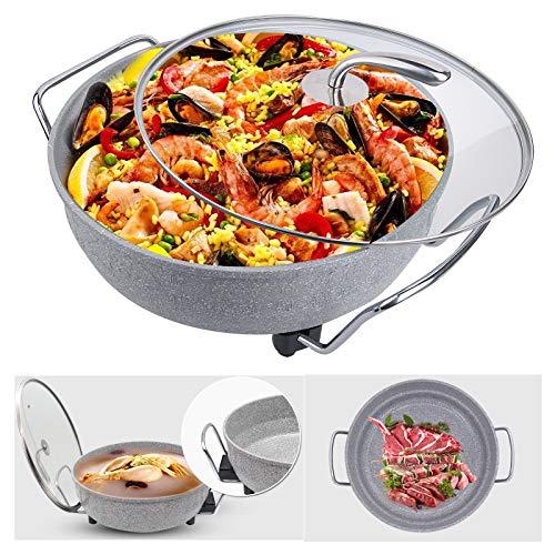Sinbide Sartén Eléctrica para Multicazuela/Paellera/Pizza Pan con Tapa de Cristal, Diámetro 32cm,...