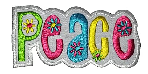 P-07 Peace Hippie Flower DIY Embroidered Sew Iron on Patch