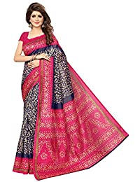 Rangreza Women's Unique Designer Bhagalpuri Art Silk Dark Blue And Pink Coloured Printed Saree