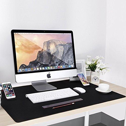 Alfombrilla Ratón Tamaño XXL, Cojoie Alfombrilla Ratón para Gaming y Oficina con Gran Tamaño (885 x 580*3 mm), Mousepad con Doble Soporte para Teléfono, Amplia y Durable, Negro