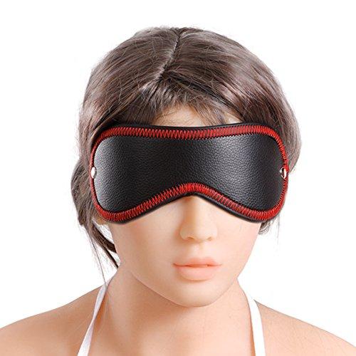 Leder Augenmaske Verstellbar Fesseln Augenbinde BDSM Fetisch SM Spiel Bondage Sex Spielzeug für paare, Schwarz Rot