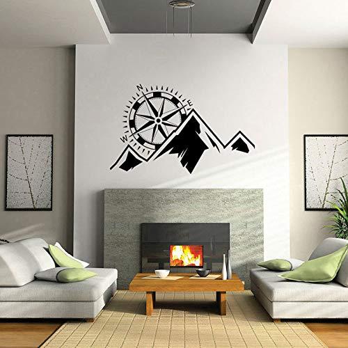 yaoxingfu Gebirge Mit Kompass Vinyl Tapete Aufkleber Für Kindergarten Kinder Schlafzimmer Jungen Wandtattoos Wohnzimmer Home Poster Karte Farbe 90X57 cm -
