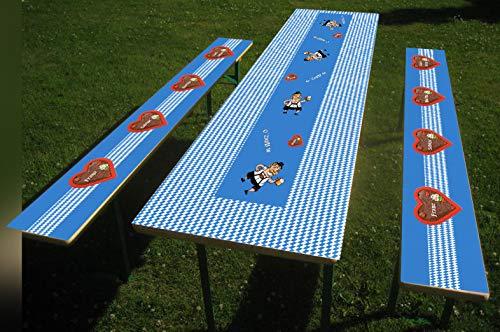 1 Set Oktoberfest Bier- Party-Tischdecke mit Oktoberfestmotiv bedruckt, Bierzelt Garnitur, Bierbank Biertisch (Set A: Tisch 50 x 220 cm und Bank 24 x 220 cm, Blau mit Herzen)