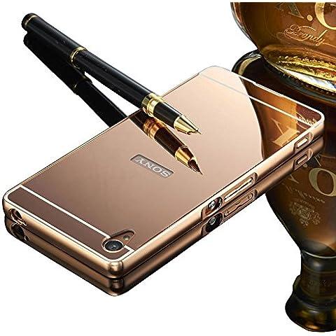VANDOT Duro Híbrido Carcasa para Sony Xperia Z3 Lujo Bumper Case del Metal Aluminio + PC Ultrafina Espejo Efecto Trasero Funda Cover -Oro