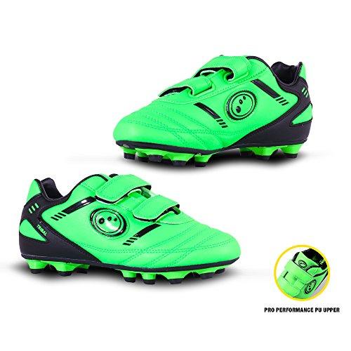 Optimum Jungen Tribal-Velcro Moulded Stud Fußballschuhe, Green (Fluro Green/Black), 26 EU (8 Kinder UK)