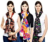 Weavers Villa Combo Pack of Women's Poly Cotton Scarf, Stole - Set of 3 Scarves