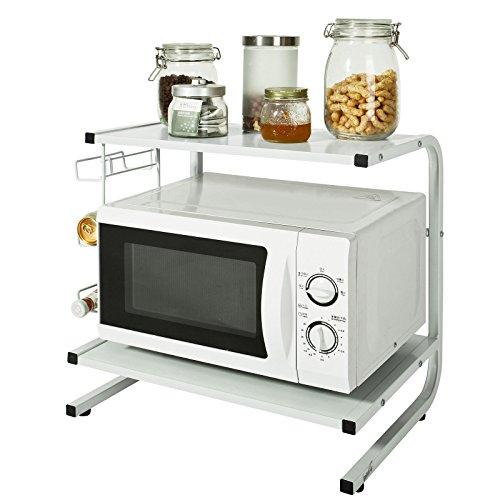 SoBuy FRG092-W,Mensola per forno a microonde, Mensola da cucina,Mensola in metallo e legno.bianco,IT