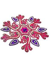 KRIWIN® 10-11 inches Dia - Floor/Wall/Table Rangoli Decorative Showpiece (Acrylic) (Peacock)