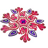 KRIWIN® 10-11 inches Dia - Floor/Wall/Table Rangoli Decorative Showpiece (Acrylic) (Peacock)