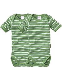 wellyou, 2er Set Kinder Baby-Body Kurzarm-Body, grün weiß gestreift, geringelt, Feinripp 100% Baumwolle