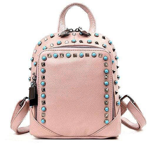 La Borsa Di Cuoio Delle Nuove Donne Moda Rivetta Lo Zaino Pink