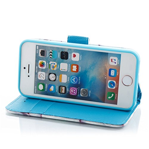 Apple iPhone SE 5 5S Hülle, SATURCASE Einzigartig 3D Stein Muster PU Lederhülle Ledertasche Magnetverschluss Flip Cover Brieftasche Case Handy Tasche Schutzhülle Handyhülle Hülle mit Standfunktion Kar Muster-2