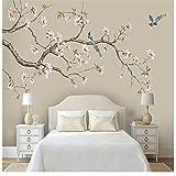 Papier peint mural personnalisation mur décoratif Magnolia chinois peint à la main des fleurs et des oiseaux stylos fleurs et oiseaux fond