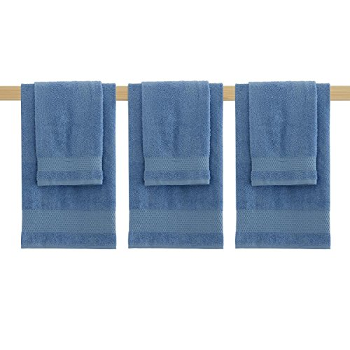 Set 3+3 Gabel mod. Guadalupa Asciugamani viso + Ospiti Spugna di Cotone N100 BLUETTE