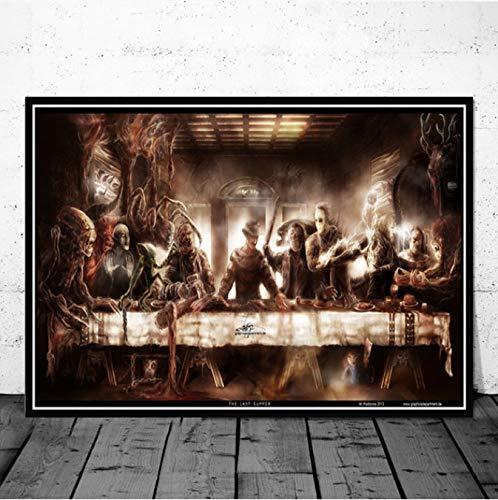 ason Chucky Halloween Horrorfilm Charakter Das Letzte Abendmahl Kunst Malerei Poster Wandbilder Bild Room Home Decor 40X60 cm Ohne Rahmen ()