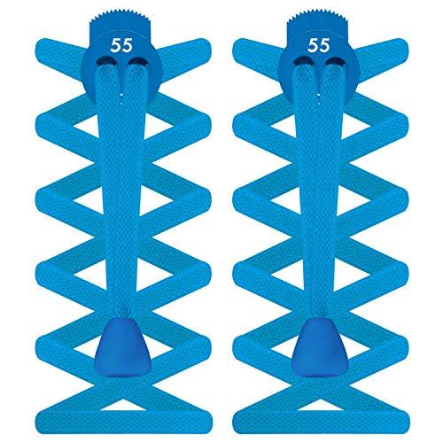 55Sport Elastische Schnürsenkelstopper, flaches Design, damen Herren Kinder, pool blue, Einheitsgröße