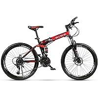 Novokart-Roue de Sport Pliable/VTT 24/26 Pouces à Rayons, Noir&Rouge