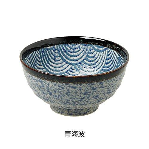 YUWANW Standard Japanese Noodle Bowl große Schüssel mit Einem Durchmesser von 17 cm Keramik, Qinghai Wave Wave Rice Bowl