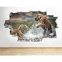 B036 Tiger Lion Safai Zoo Play Nursery Lake Wall Decal Poster 3D Art Stickers Vi Kids Bedroom Baby Nursery Cool Livingroom Hall Boys Girls (Large (90x52cm))