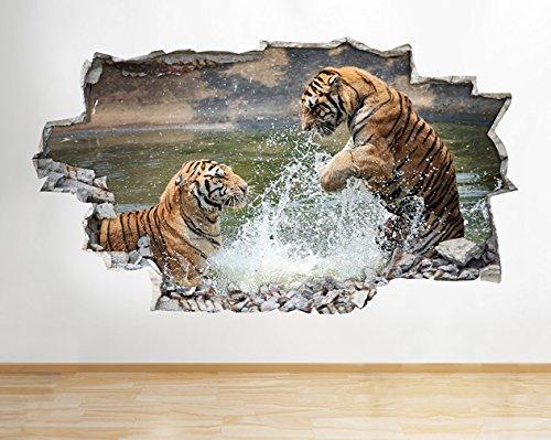 tekkdesigns B036Tiger Löwe Safai Zoo Play Kinderzimmer Lake Wand Aufkleber 3D Poster Art Aufkleber VI Kids Schlafzimmer Baby Kinderzimmer Cool Wohnzimmer Hall Jungen Mädchen (Medium (52x 30cm))