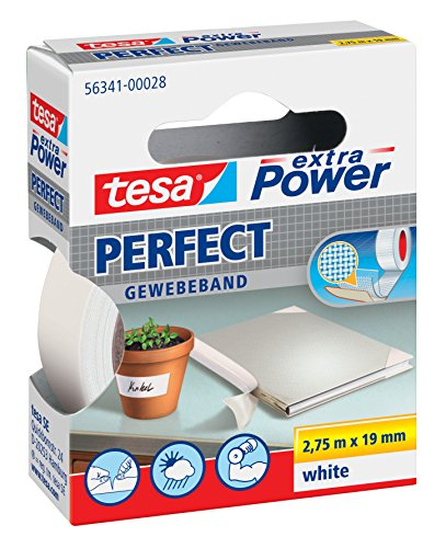 TESA extra Power Gewebeband (19mm, Weiß)