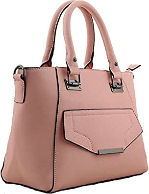 Borsa a mano in similpelle nude