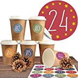 """Adventskalender DIY Set mit 24 Coffee-to-Go-Bechern (100% biologisch abbaubar) zum befüllen und selber basteln inkl. 24 weihnachtlichen Aufklebern """"Zum Advent"""""""
