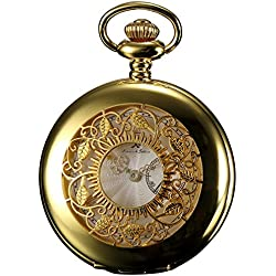 KS Half Hunter Series Mens Analog Quartz Gold Steel Case Pocket Watch + Chain KSP050