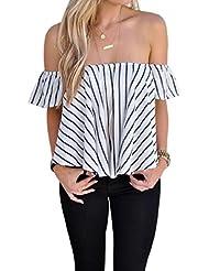 Tongshi Mujeres Hombro a rayas ocasionales camisa de la blusa Tops