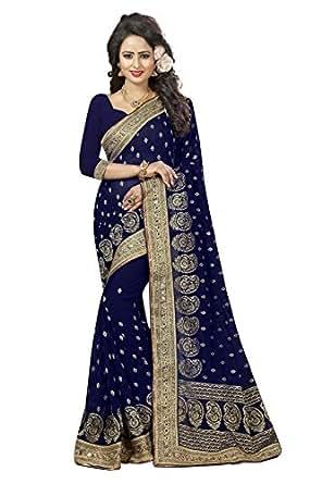 Flaunt365 Jari Embroidery Georgette Sari in Navy Blue