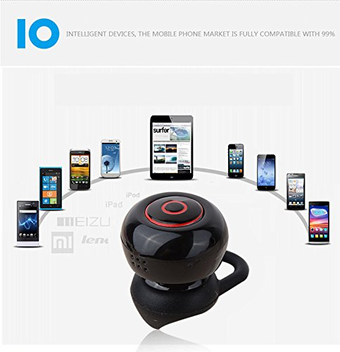 inShang Ultra-mini Bluetooth 4.1 intelligenti Mini Auricolare Headset Earbud earphone , supporto vivavoce e due dispositivi di connessione, Partita Con la maggior parte degli smartphone, iPhone,iPad,  black