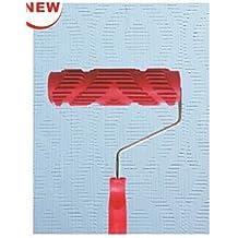 "shentian 7""Pintura Rodillo decoración plástico grano de madera pintura rodillo con mango de plástico (Rojo)"