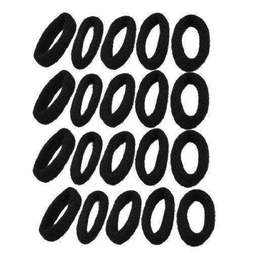 sourcingmap® 20 PIÈCES Elastique Noir Caoutchouc Bandeau Cheveux élastiques de queue de cheval pour Pour Filles Et Femmes