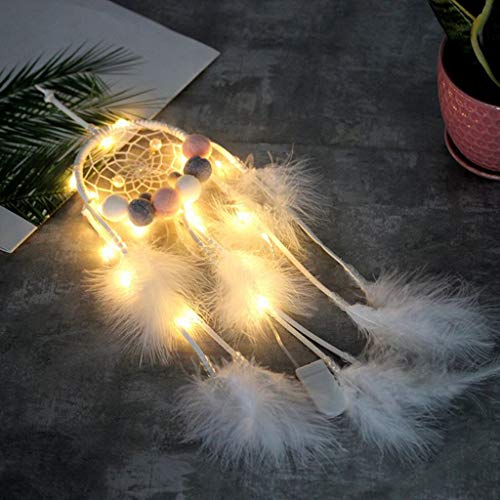 Dkings Lichterkette Plug In Lichterketten für Schlafzimmer Farbwechsel Lichter Led Lichterketten für Innen Weihnachten Hochzeit Kostüm, Federn Dream Catcher Nachtlicht Auto Wandbehang Room Home Decor