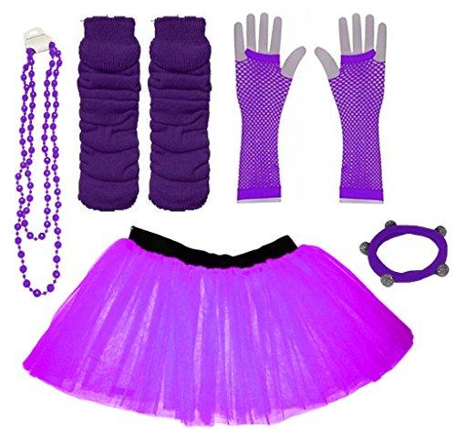 (A-Express Lila Mädchen Kinder 4-7 Jahr Neon Tütü Rock Beinstulpen Fischnetz Handschuhe Halskette Tüll Verkleidung Party TutuRock Kostüm Set)
