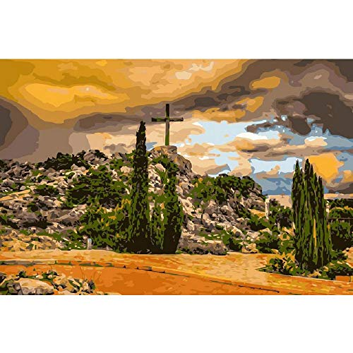 LYWUSUZE Wooden Adult Puzzle 1000 Pieces DIY Art Puzzle Christian Cross On The Hill Leisure Creative Crossword Game Children's Educational Toys (Cross Christian Art)